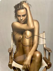Charlize Theron signed 8 X 10 photo~~Super Hot photo Smoking~~