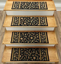 "Rug Depot Set of 13 Traditional Wool Non Slip Carpet Stair Treads 26"" x 9"" Black"