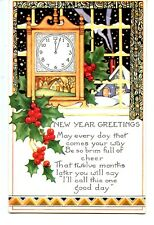 Clock by Window-Snow-Happy New Year Holiday Greeting Whitney Published Postcard