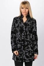 NEW WOMEN LADIES GREY BLACK EMBOSSED VELVET MILITARY DRESS COAT SIZE10 EU38 US 8