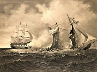 USS St. Lawrence Union Navy Sinks Petrel 1862 Virtue Civil War Battle Scene