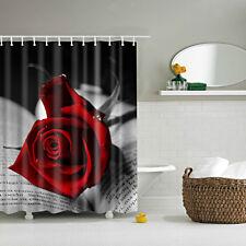 Bathroom Shower Curtain Waterproof Fabric Drapes w/12 Hooks Red Rose Pattern