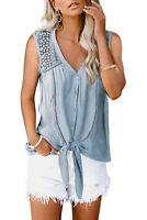 Light Blue Crochet Lace V Neck Button Front Tie Waist Boho Tank Top MEDIUM 8-10
