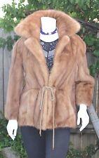 Genuine Blond Ranch Mink Fur Letout Coat Jacket 3/4 Sleeve Adjustable Waist S-S+