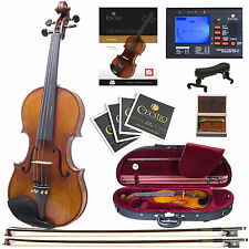 Cecilio CVN-700 1-Piece Back Flamed Ebony Fitted Violin with Red Label Strings