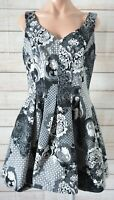 Cue Skater Dress Size 12 Black White Grey Floral Sleeveless Exposed Zip Corduroy