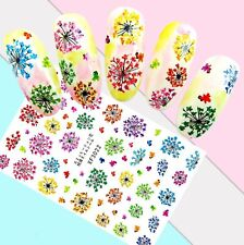 Nail Art Stickers Transfers 3D Self Adhesive Multicoloured Dandelions (Xf3022)