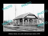 OLD LARGE HISTORIC PHOTO OF EKLUTNA ALASKA, VIEW RAILROAD DEPOT STATION c1930
