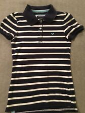 Juniors Small American Eagle Navy Blue Striped Polo Shirt