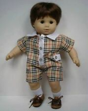 Tan Plaid School Romper Doll Clothes For Bitty Baby Boy & Twin (Debs)