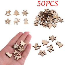 Lots 50 x Natural Wood Christmas Ornament Xmas Tree Decorate Reindeer Snowflakes