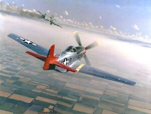 Two Down, One To Go [P-51 Me-109] CANVAS William S Phillips -332nd Fighter Group