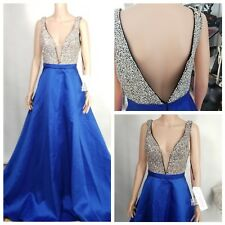 Jovani Formal Evening Gown Size 8 Full Rhinestone Top Royal Blue Full Skirt NWT