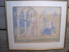 The Annunciation, Monastery of San Marco Watercolour Florence signed dated 1953