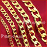 9K PLAIN GOLD GF MENS WOMENS SOLID FLAT RING CURB CHAIN NECKLACE GIFT 16-30 INCH