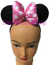 Minnie Mouse Ears Headband Puffy Pink Polka Dot Bow Mickey Birthday Party Favors