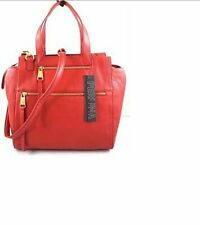 PERLINA Purse genuine leather Red satchel Tote Gold hardware medium NWT $ 228