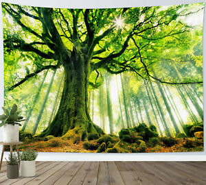 Virgin Forest Tapestry Green Tree Nature Scenery Wall Hanging for Living Room