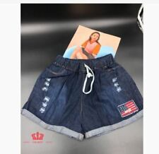 WOMEN'S DENIM SHORT WITH STRING LH - US FLAG PATCHES