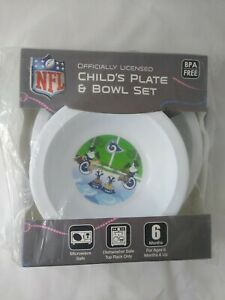 Los Angeles LA Rams Kids Child's Plate & Bowl Set BPA Free NFL Official Licensed