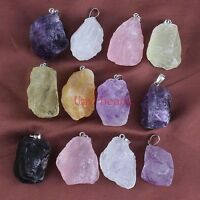 Silver Plated Irregular Shape Natural Multi Style Stone Druzy Quartz Pendant