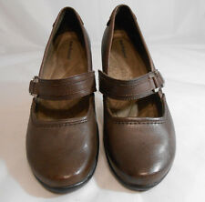 Hush Puppies Brown Leather Mary Jane Block Heels Womens Size 8.5 M