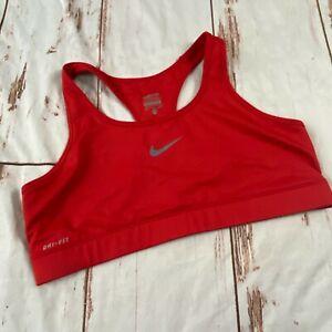 Nike Pro Dri-fit womens pull on sports bra-red-size XL-guc