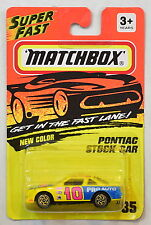 MATCHBOX 1993  PONTIAC STOCK CAR #35 YELLOW