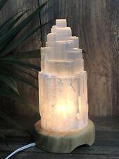 """8"""" Selenite Lamp W/Cord Selenite Tower Lamp Crystal Lamp Gemstone Mountain Lamp."""