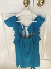 EnRose Designer Turquoise Frilly Top Size 8