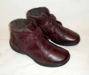 Hotter Soft Leather Ankle Boots 'Daydream' Burgundy Faux Fur Lining Size 4.5 EXF