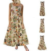 Women Plus Size Bohemian Floral Print Vintage Sleeveless Long Maxi Dress