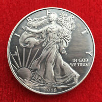 2018 American Silver Eagle 1 OZ .999 Silver Coin - Antique Finish  w/ Capsule