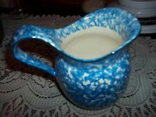 vintage blue and white pitcher perfect condition approx 6/7 inch high 5 inches w