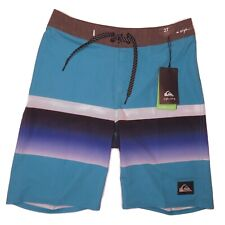 Quicksilver Boys Board Shorts Sz 27 Blue Striped High Line Unlined Youth 18 New
