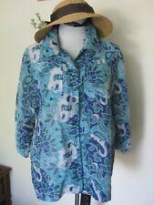 Bon Worth Aqua Blue Green Tan Burnout Semi Sheer Floral Top Shirt L Petite