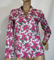 LINEN LAWN SIZE 10 FLORAL ROSES COTTON SHIRT AS NEW
