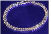 Damen Tennis Armband Zirkon 2-reihig Kristall Ketten Armreif Statement Modisch