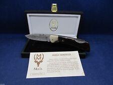"Muela Folding ""BX-8 DAM"" Lockback Damascus Knife Africa Wood Handles & Display"