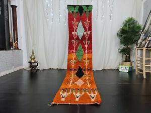 "Moroccan Handmade Boujaad Runner Rug 2'2""x10'9"" Orange Red Geometric Berber Rug"