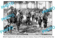OLD LARGE PHOTO WWI ANZACS AUST AIF BURIAL FRANCE 1916 BECOURT CEMETERY
