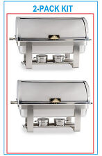 2 PACK FULL KIT 8 QT DELUXE ROLL TOP Chafer Stainless Chafing Dish FREE SHIP
