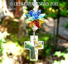 m/w All Swarovski Crystal Cross Rainbow Chakra Sun Catcher  Lilli Heart Designs