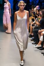 Giles Deacon Runway Collection Pearl Grey Silver Beaded Slip Dress IT38 UK6