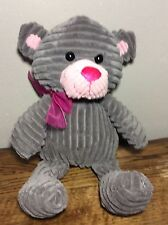 "14"" Walmart Gray Pink Stripped Velour Corduroy TEDDY BEAR Plush Soft Stuffed Toy"
