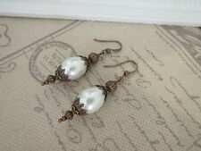 VINTAGE VICTORIAN THEMED EARRINGS - PEARL DROPS