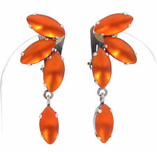 SoHo® Ohrclips navette bohemia Glas 1960er Jahre orange matt handmade hyazinth