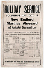 Rare 1933 NANTUCKET Martha's Vineyard Steamboat POSTER New Bedford NH Railroad
