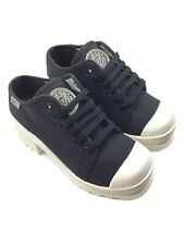 Guess Women's 6 Vintage Platform Chunky Heel Sneaker Shoes Black White Lace Up