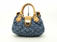 Louis Vuitton Authentic Monogram Denim Blue Pleaty Hand Bag Purse Auth LV